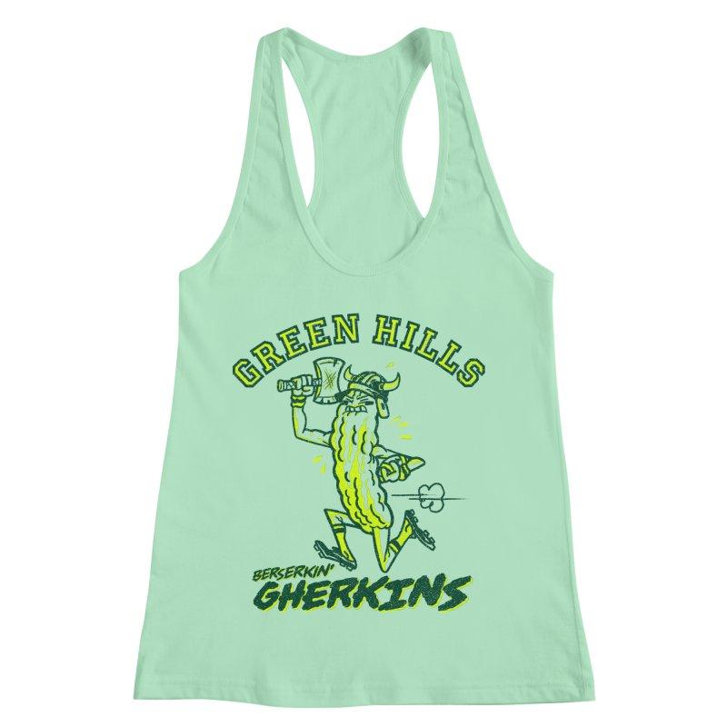 Berserkin' Gherkins Women's Racerback Tank by Gimetzco's Damaged Goods