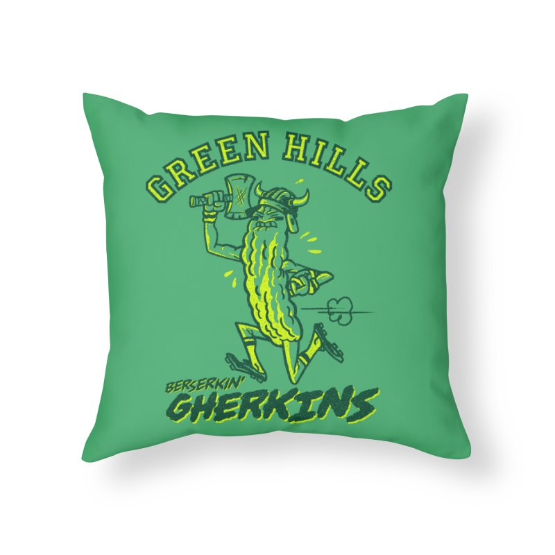 Berserkin' Gherkins Home Throw Pillow by Gimetzco's Damaged Goods