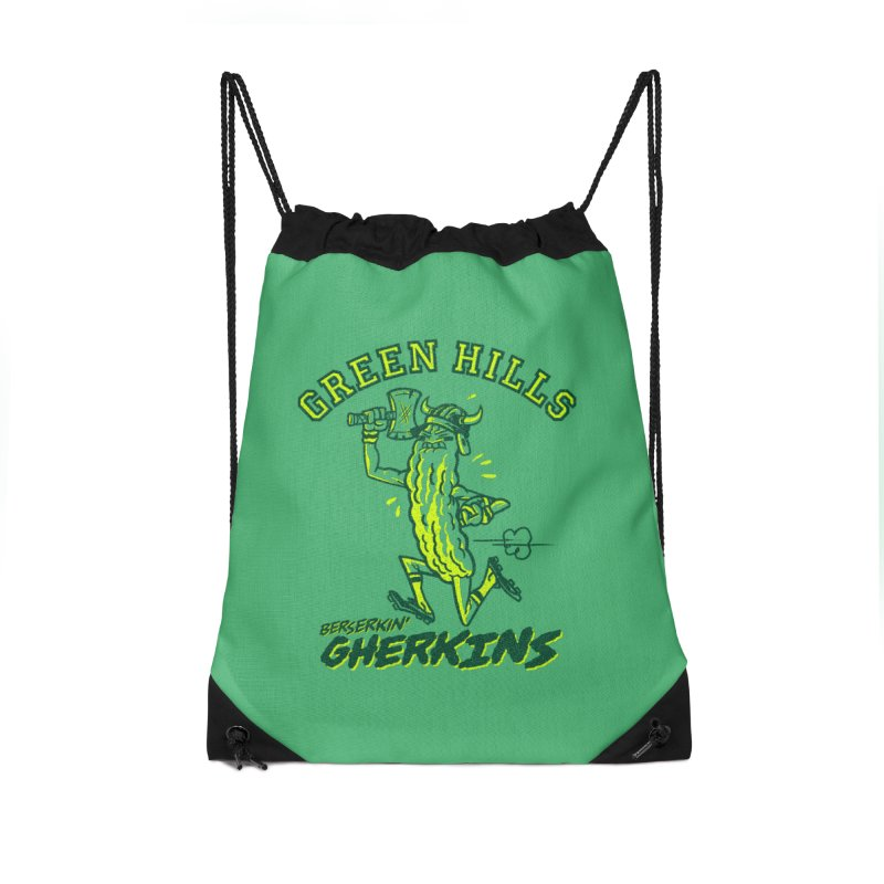 Berserkin' Gherkins Accessories Drawstring Bag Bag by Gimetzco's Damaged Goods