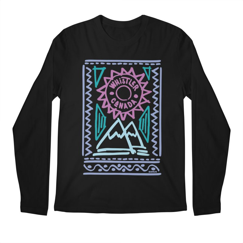 Whistler Blackcomb Retro Men's Regular Longsleeve T-Shirt by rad mountain designs by Ginette