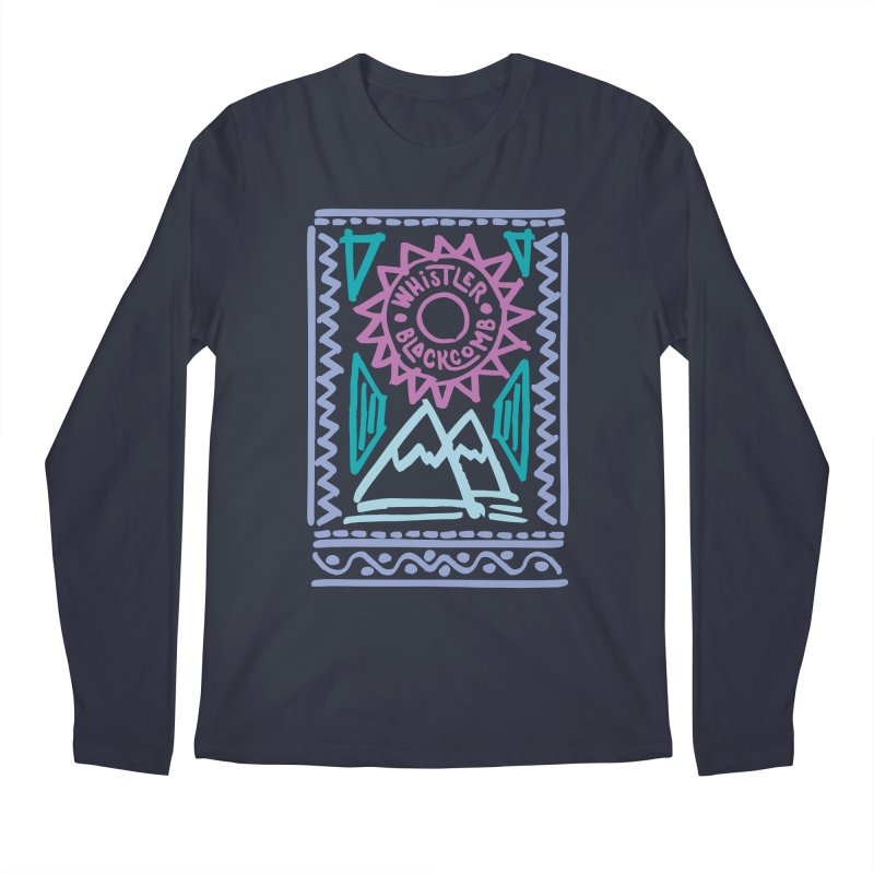 Whistler Blackcomb Retro Men's Longsleeve T-Shirt by rad mountain designs by Ginette