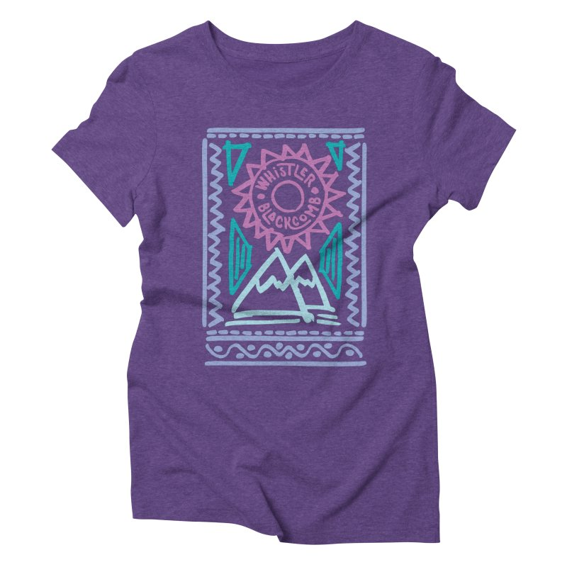 Whistler Blackcomb Retro Women's Triblend T-Shirt by rad mountain designs by Ginette