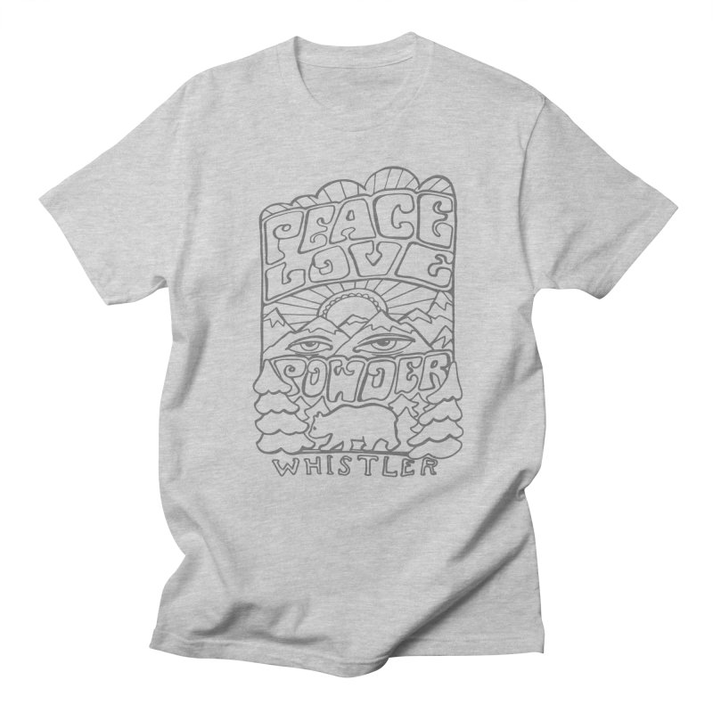 Peace Love Powder Men's Regular T-Shirt by rad mountain designs by Ginette