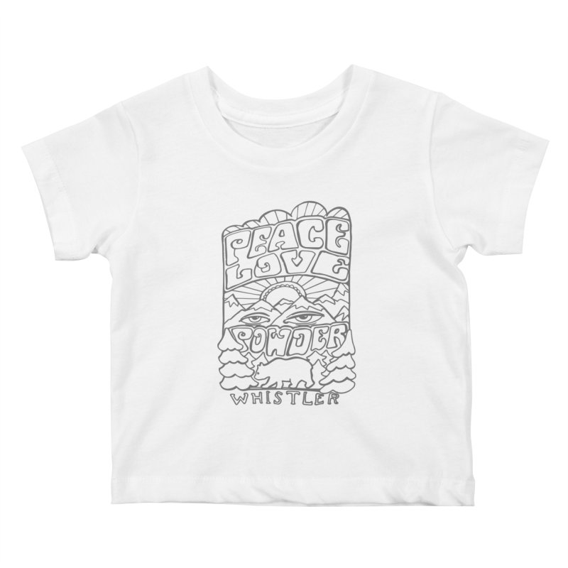 Peace Love Powder Kids Baby T-Shirt by rad mountain designs by Ginette