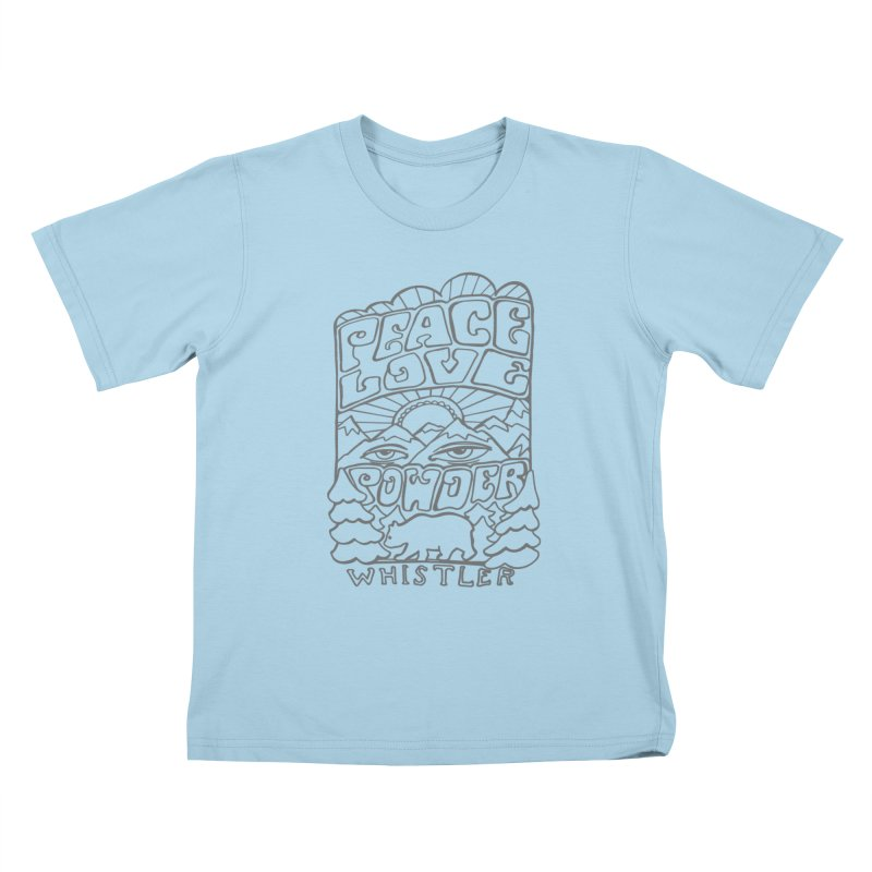 Peace Love Powder Kids T-Shirt by rad mountain designs by Ginette