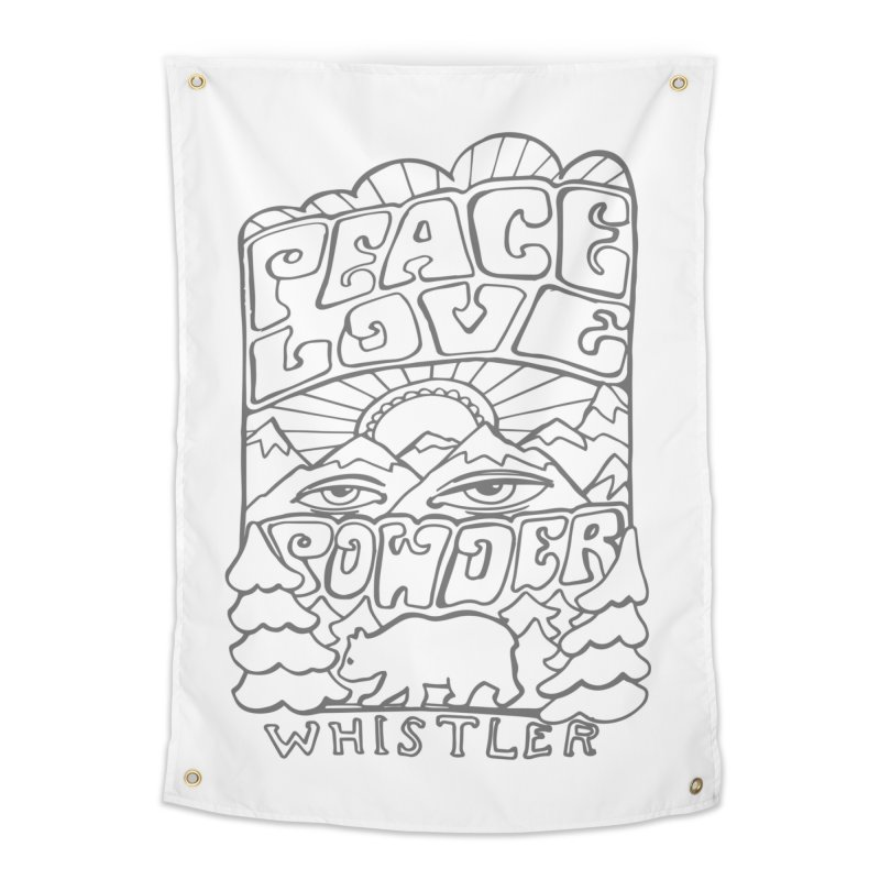 Peace Love Powder Home Tapestry by rad mountain designs by Ginette