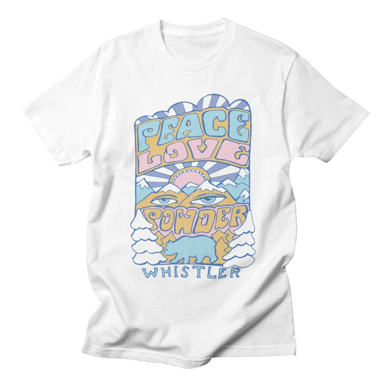 Peace Love Powder colours Men's Regular T-Shirt by rad mountain designs by Ginette