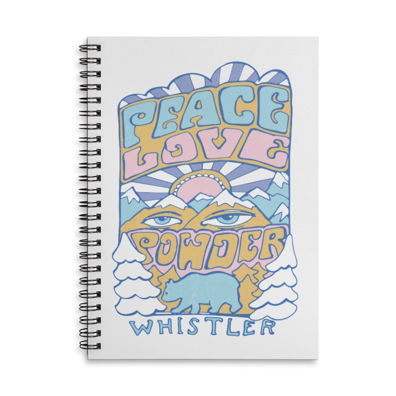 Peace Love Powder colours Accessories Lined Spiral Notebook by rad mountain designs by Ginette
