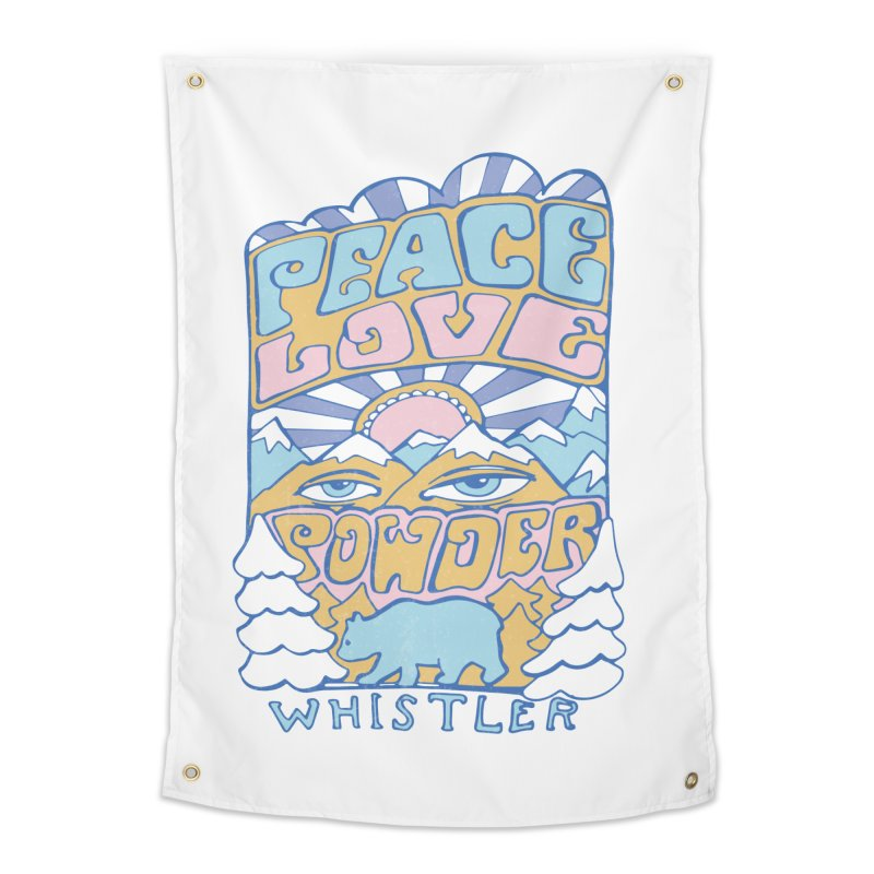 Peace Love Powder colours Home Tapestry by rad mountain designs by Ginette