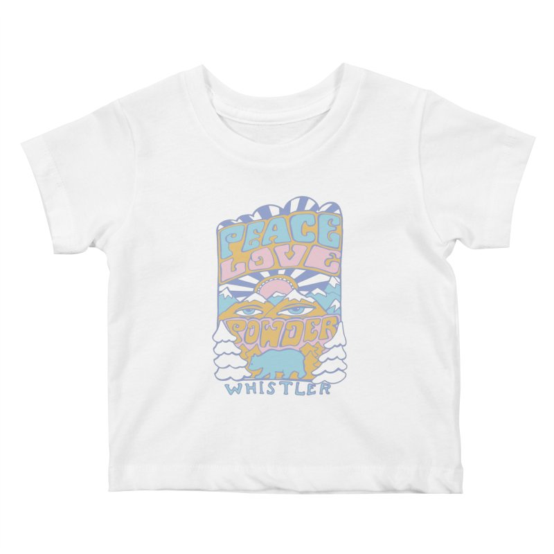Peace Love Powder colours Kids Baby T-Shirt by rad mountain designs by Ginette