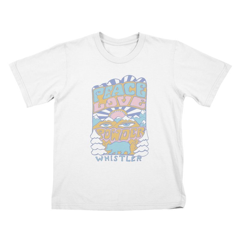 Peace Love Powder colours Kids T-Shirt by rad mountain designs by Ginette