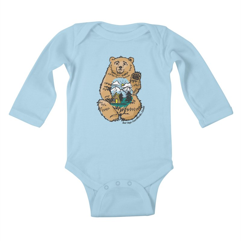 Happy belly bear Kids Baby Longsleeve Bodysuit by rad mountain designs by Ginette