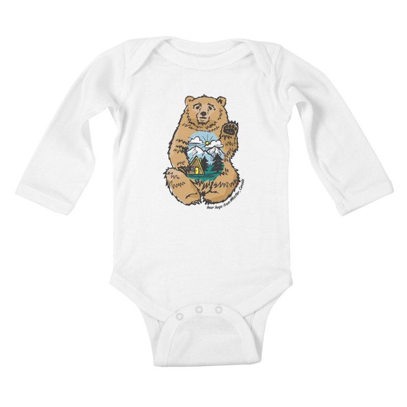 Happy belly bear Kids Baby Longsleeve Bodysuit by rad mountain designs by Ginette