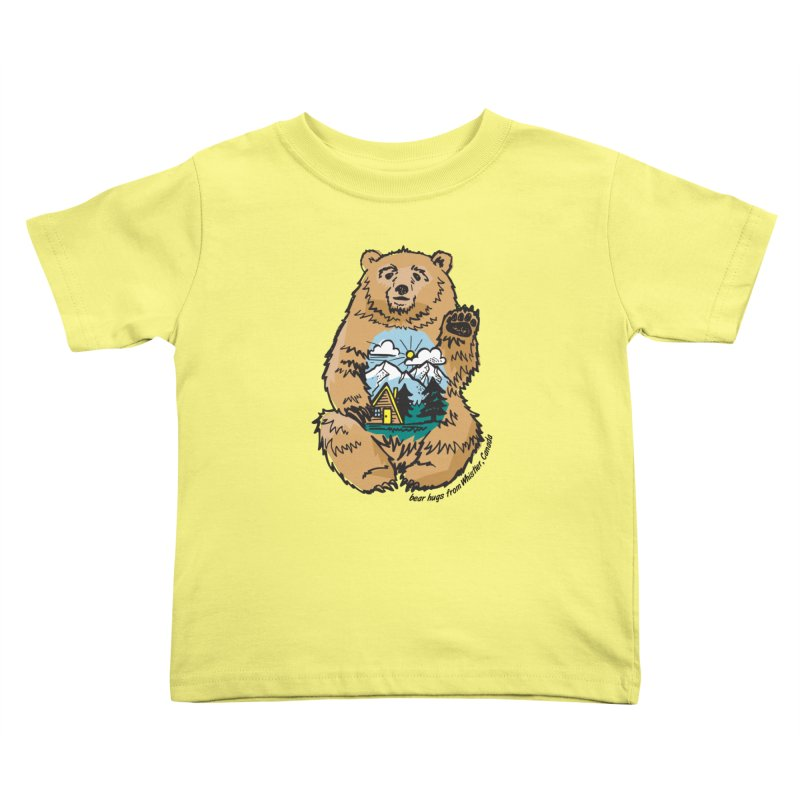 Happy belly bear Kids Toddler T-Shirt by rad mountain designs by Ginette