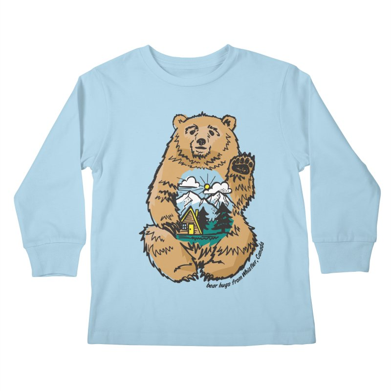 Happy belly bear Kids Longsleeve T-Shirt by rad mountain designs by Ginette