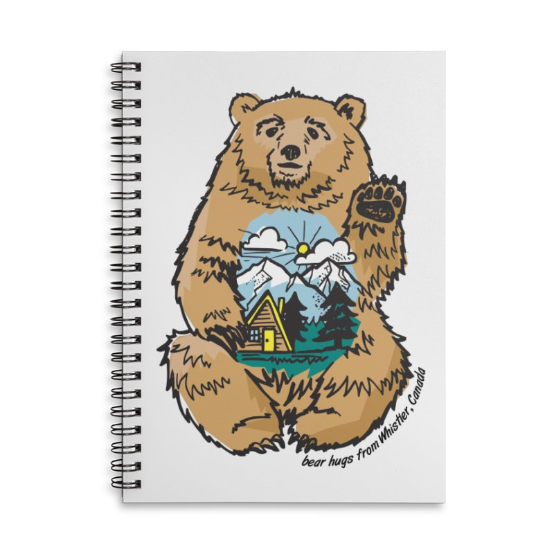 Happy belly bear Accessories Lined Spiral Notebook by rad mountain designs by Ginette