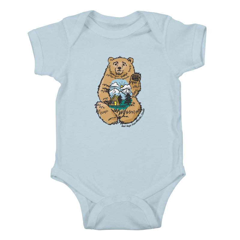 Happy belly bear Kids Baby Bodysuit by rad mountain designs by Ginette