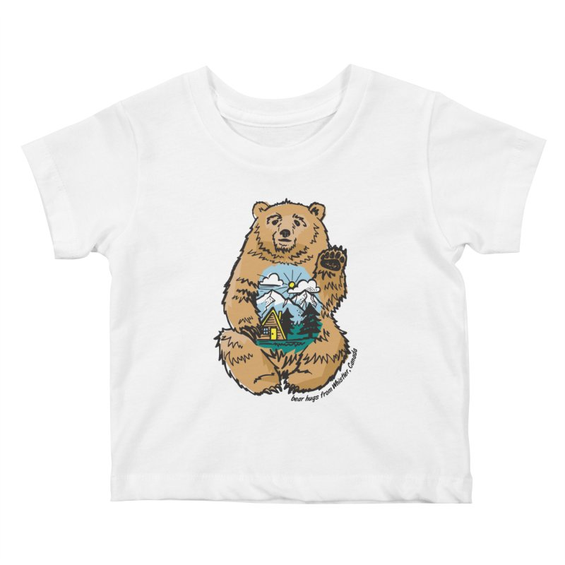 Happy belly bear Kids Baby T-Shirt by rad mountain designs by Ginette