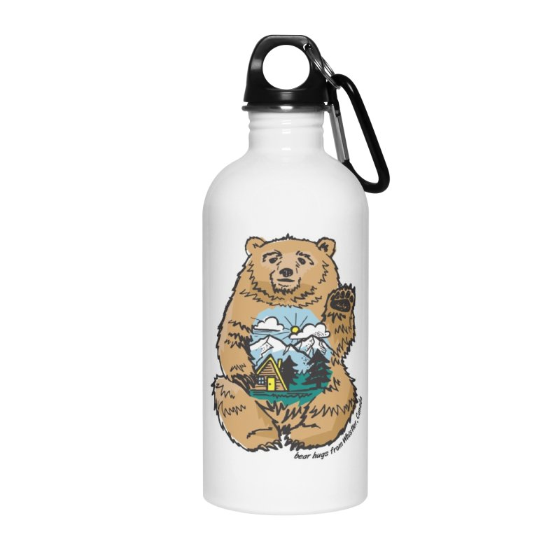 Happy belly bear Accessories Water Bottle by rad mountain designs by Ginette
