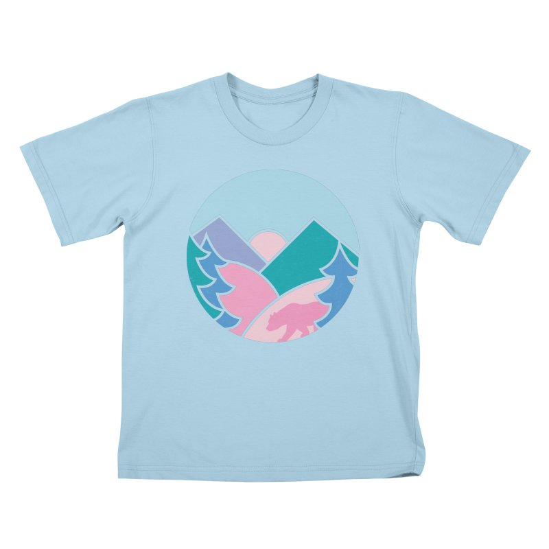 Circle bear Kids T-Shirt by rad mountain designs by Ginette