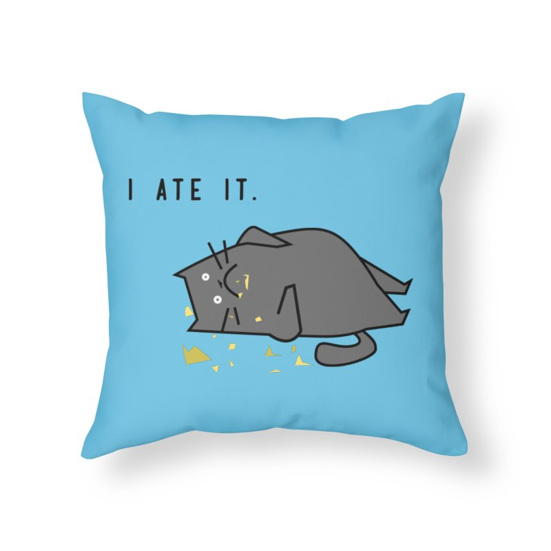 The Cat Ate It Home Throw Pillow by Ginger's Shop