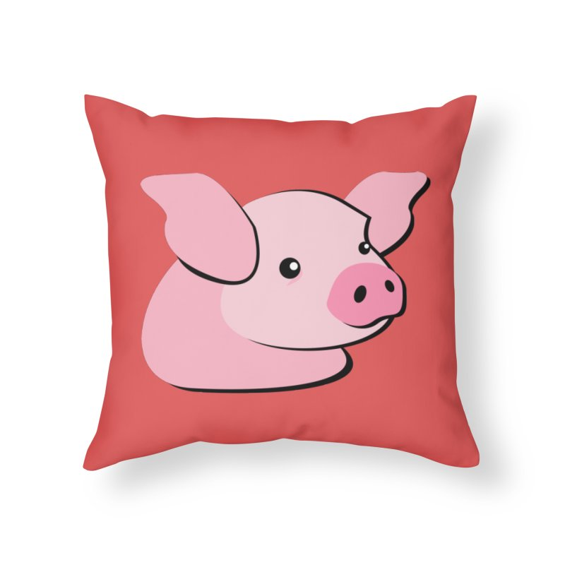 The Pig Home Throw Pillow by Ginger's Shop