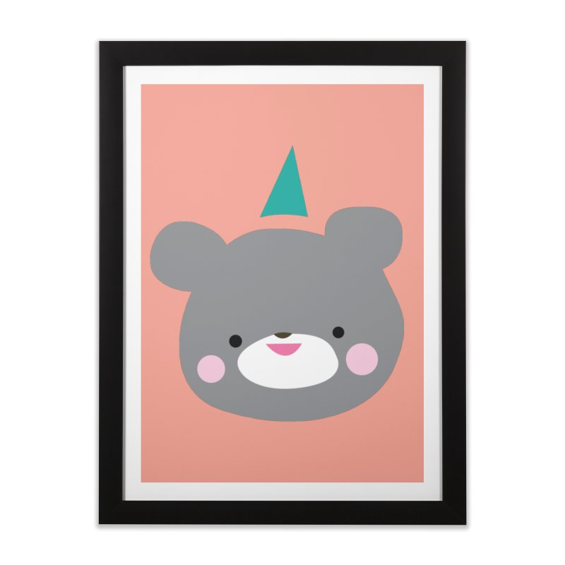 Party Bear Home Framed Fine Art Print by Ginger's Shop