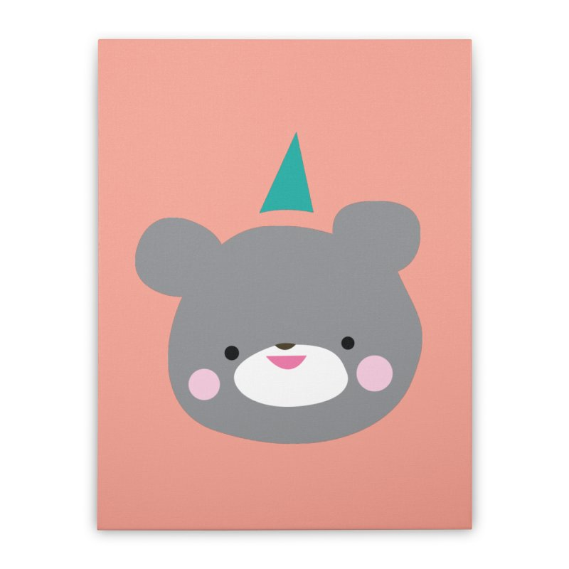 Party Bear Home Stretched Canvas by Ginger's Shop