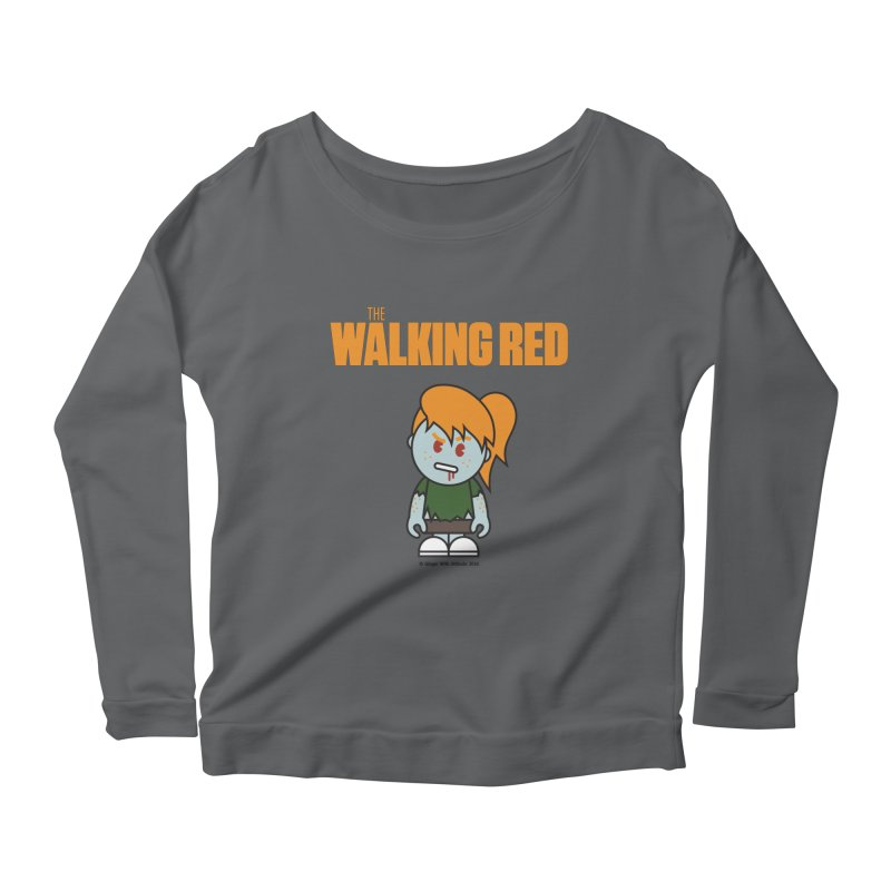 The Walking Red - Girl Women's Scoop Neck Longsleeve T-Shirt by Ginger With Attitude's Artist Shop