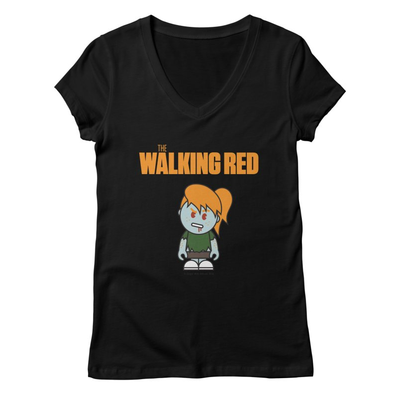 The Walking Red - Girl Women's V-Neck by Ginger With Attitude's Artist Shop