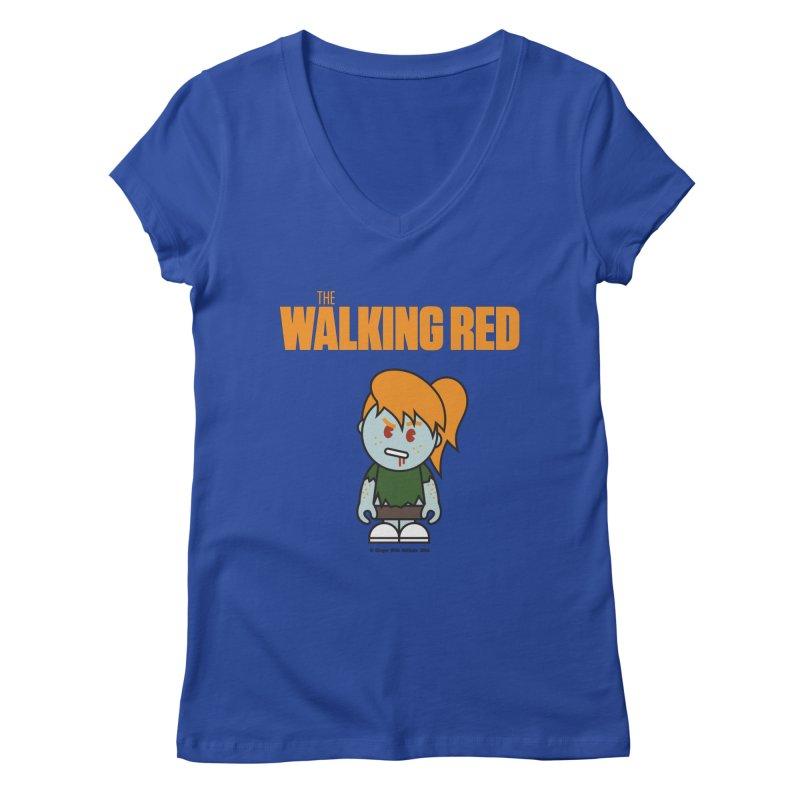 The Walking Red - Girl Women's Regular V-Neck by Ginger With Attitude's Artist Shop