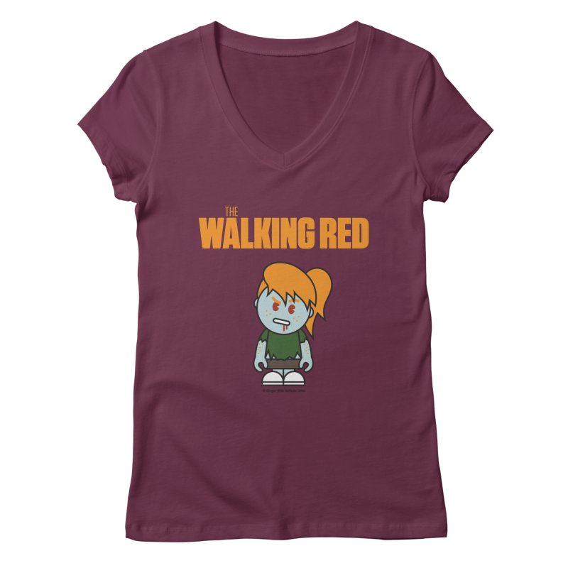 The Walking Red - Girl Women's Regular V-Neck by Ginger With Attitude's Artist Shop