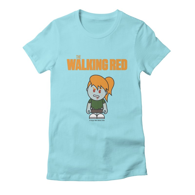 The Walking Red - Girl Women's Fitted T-Shirt by Ginger With Attitude's Artist Shop