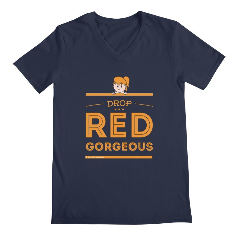 Drop Red Gorgeous Men's Regular V-Neck by Ginger With Attitude's Artist Shop