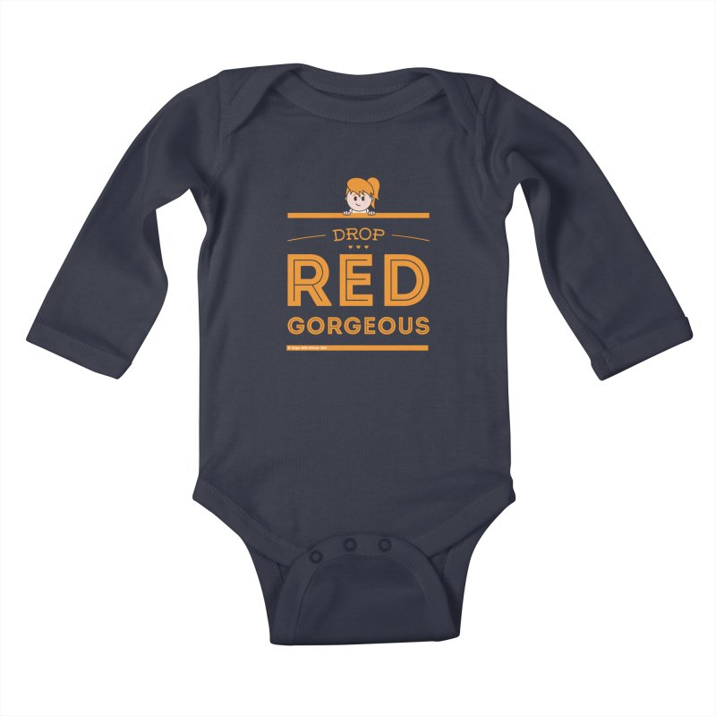Drop Red Gorgeous Kids Baby Longsleeve Bodysuit by Ginger With Attitude's Artist Shop