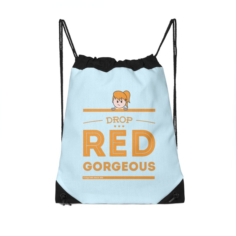 Drop Red Gorgeous Accessories Drawstring Bag Bag by Ginger With Attitude's Artist Shop