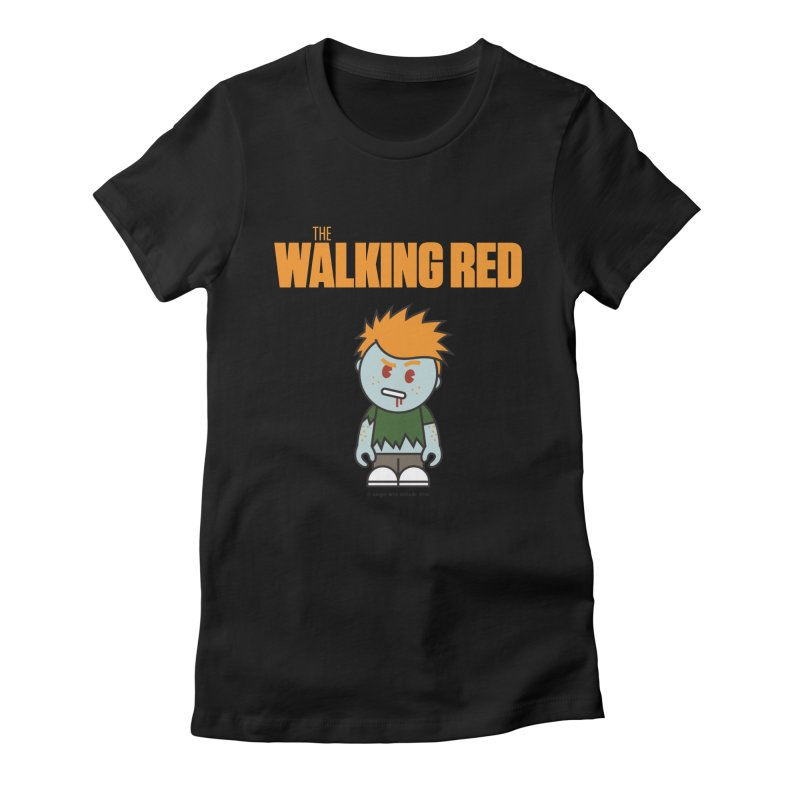 The Walking Red - Guy Women's Fitted T-Shirt by Ginger With Attitude's Artist Shop