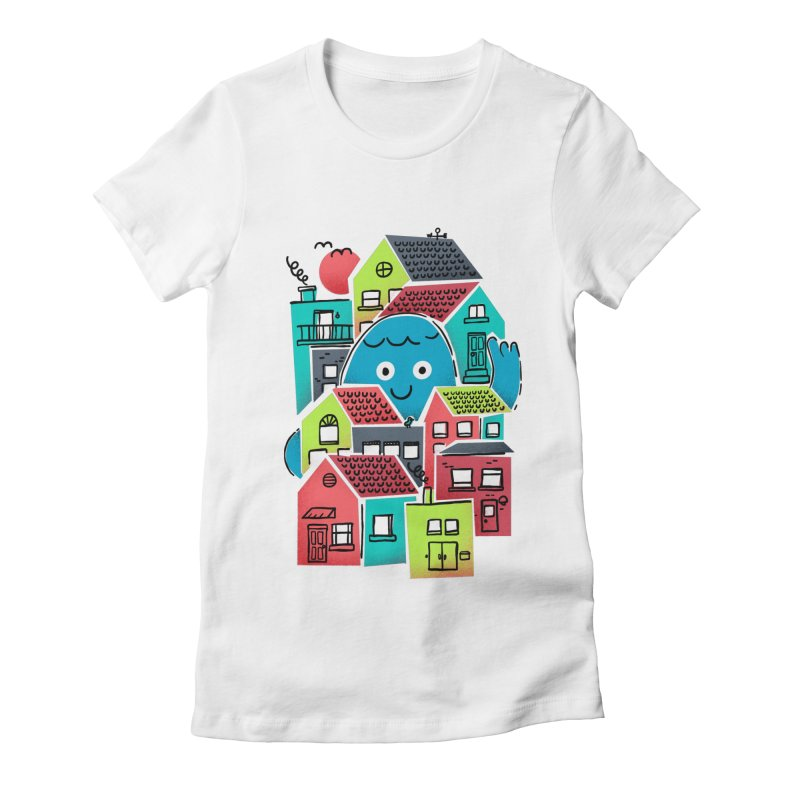 Hello Good Neighbour Women's Fitted T-Shirt by Gintron