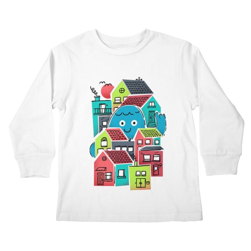 Hello Good Neighbour Kids Longsleeve T-Shirt by Gintron
