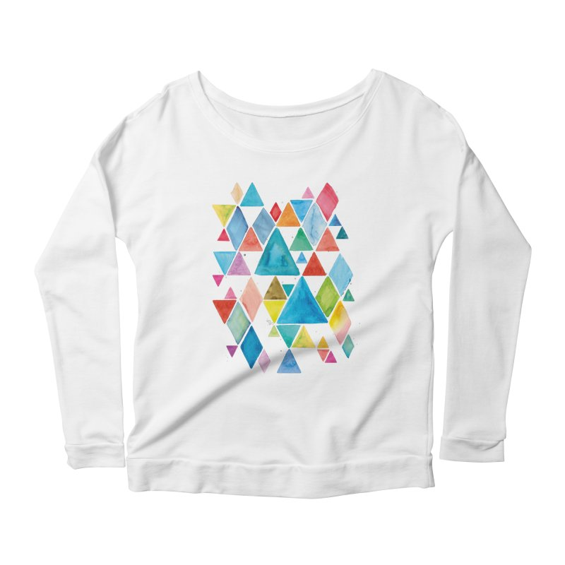 Mountain Ranges Women's Scoop Neck Longsleeve T-Shirt by gintron's Artist Shop