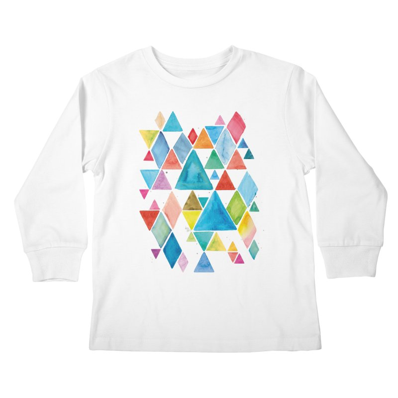 Mountain Ranges Kids Longsleeve T-Shirt by Gintron
