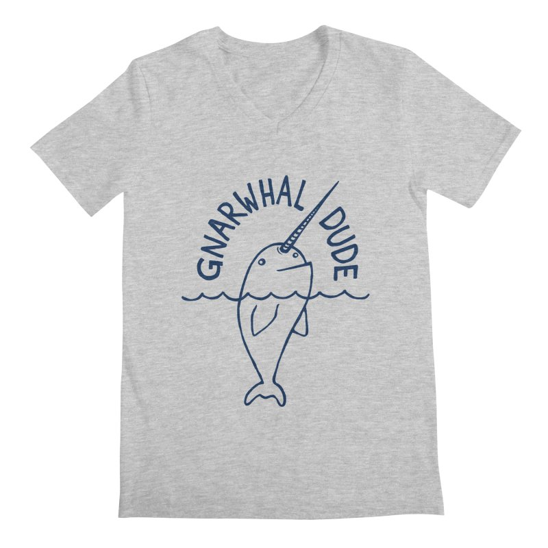 Gnarwhal Dude! Men's V-Neck by gintron's Artist Shop