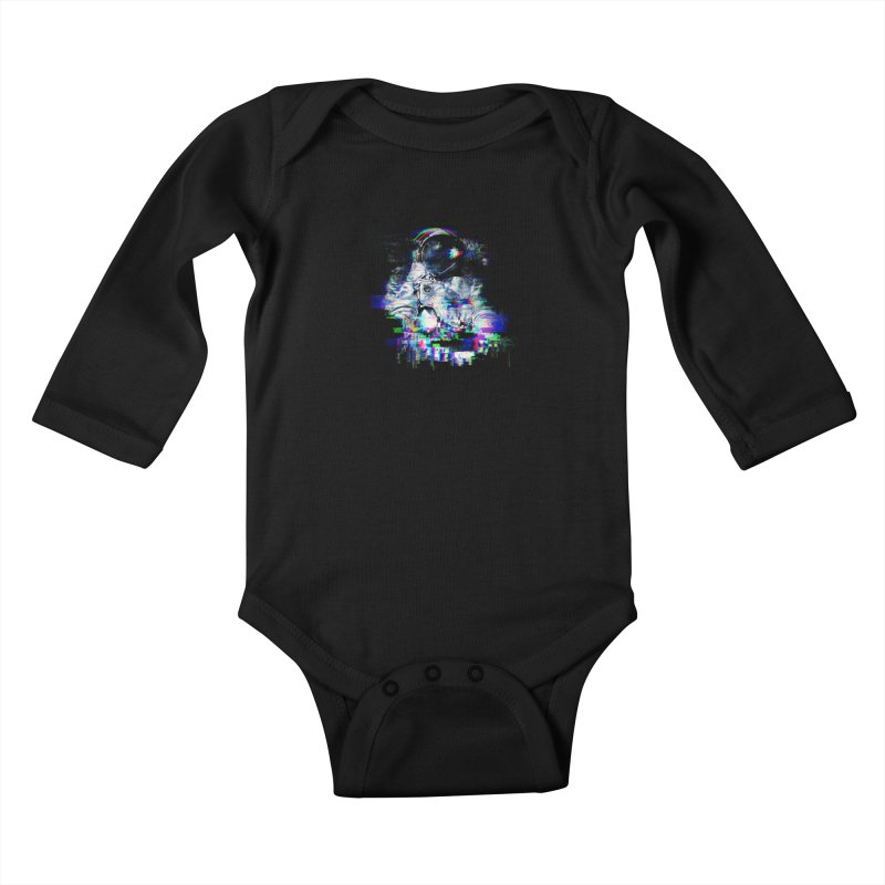 Space Glitch Kids Baby Longsleeve Bodysuit by gintron's Artist Shop