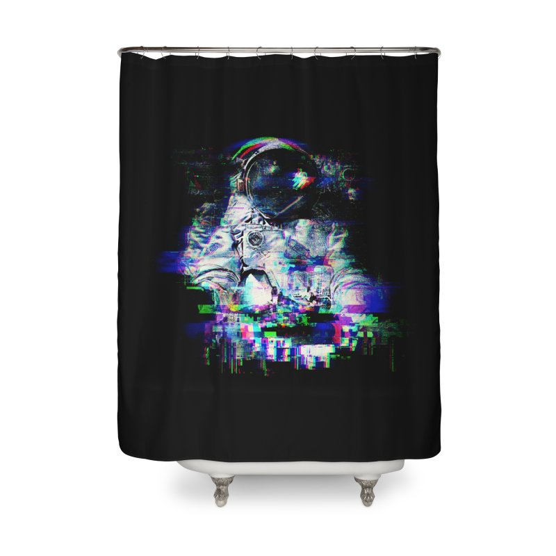 Space Glitch Home Shower Curtain by Gintron