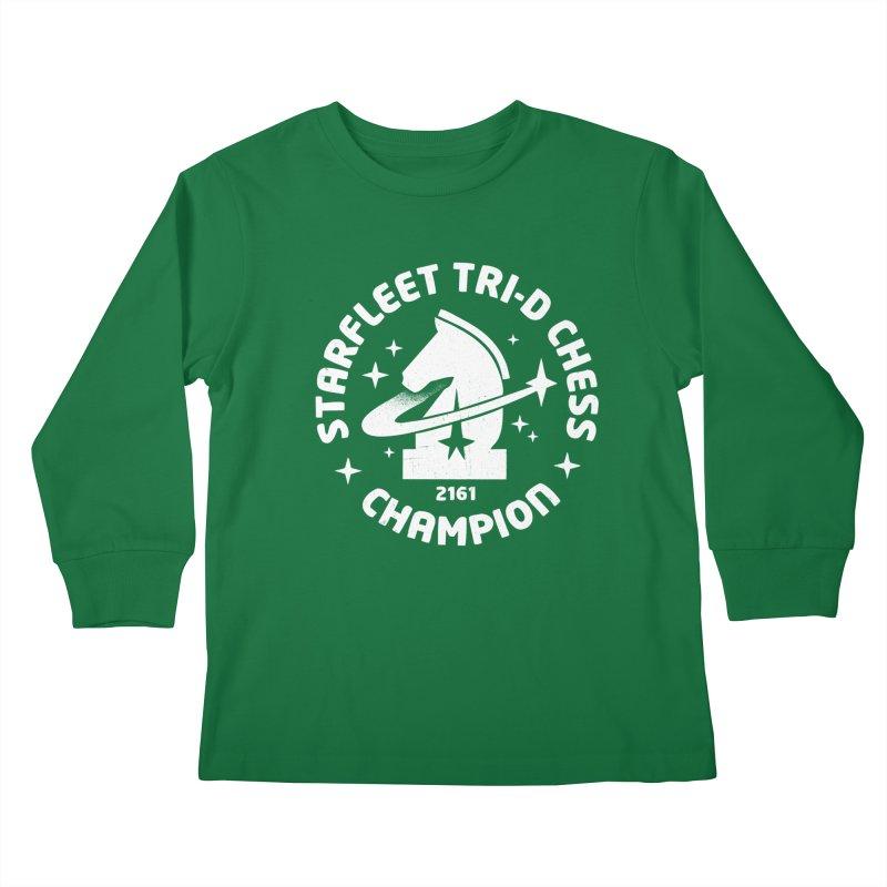 Tri-D Chess Champion Kids Longsleeve T-Shirt by gintron's Artist Shop