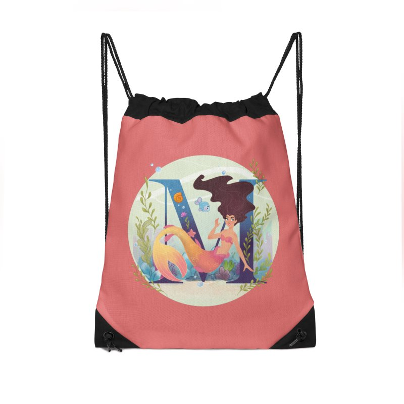 M is for Mermaid Accessories Bag by Dianna Cheng's Artist Shop
