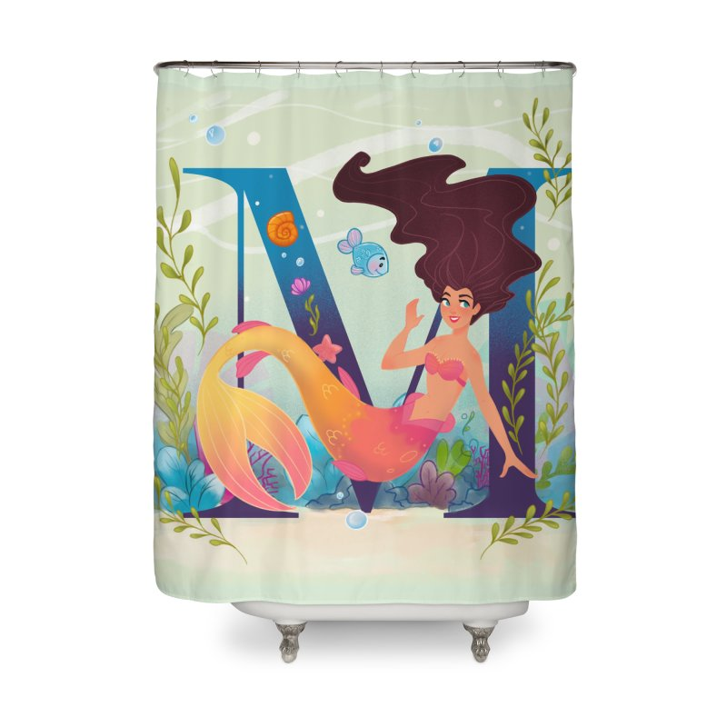 M is for Mermaid Home Shower Curtain by Dianna Cheng's Artist Shop
