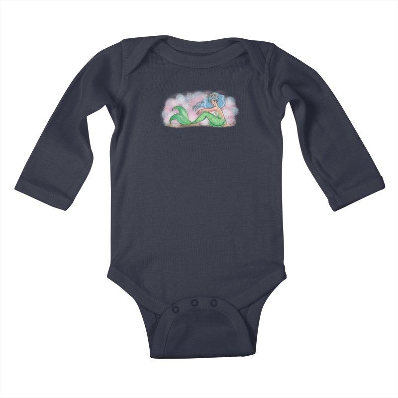Mischievous Mermaid Kids Baby Longsleeve Bodysuit by girlgeek's Artist Shop