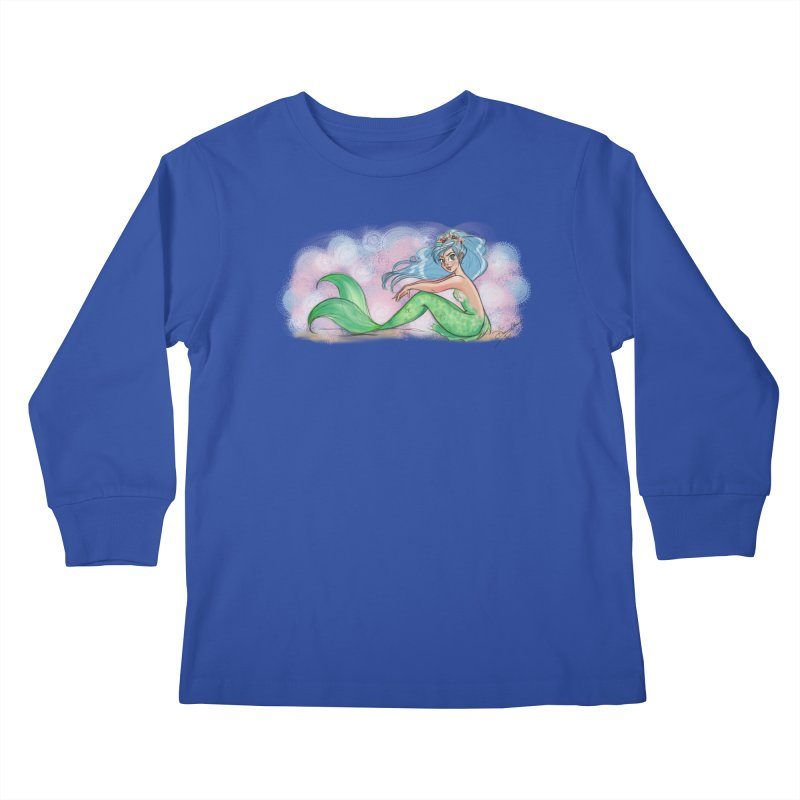 Mischievous Mermaid Kids Longsleeve T-Shirt by girlgeek's Artist Shop