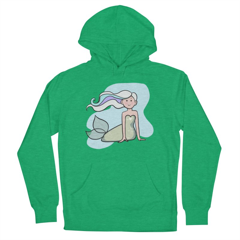 Happy Mermaid Women's French Terry Pullover Hoody by girlgeek's Artist Shop